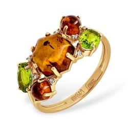 Кольцо из золота с янтарём, алпанитами и фианитами