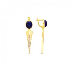 Серьги из жёлтого золота 585 пробы с лазуритами и фианитами
