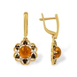 Серьги из золота с янтарём, раухтопазами и фианитами