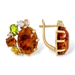 Серьги из золота с янтарём, алпанитом и фианитами