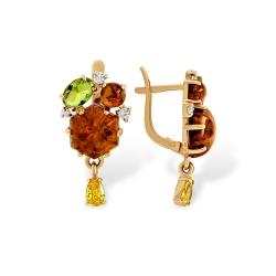 Серьги из золота с янтарём, алпанитами и фианитами