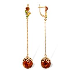 Серьги-цепочки из золота с янтарём, алпанитами и фианитами