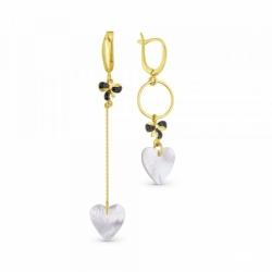 Ассиметричные серьги из жёлтого золота с сердечками