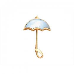 Брошь Зонтик из золота с перламутром