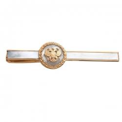 Зажим для галстука из золота 585 пробы с перламутром