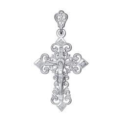 Крестик из белого золота c фианитами SOKOLOV