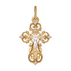 Крестик из золота с фианитами SOKOLOV