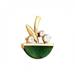 Подвеска из золота 585 пробы с нефритом и фианитом