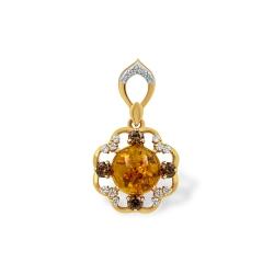 Подвеска из золота с янтарём и фианитами