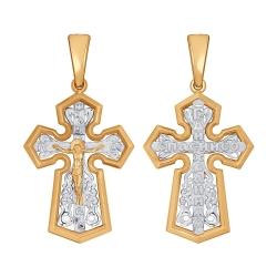 Крест из комбинированного золота без камней SOKOLOV