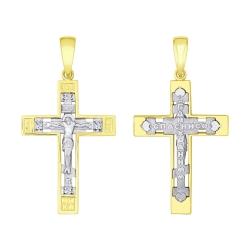 Мужская крест из желтого золота с фианитами