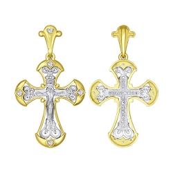 Крест с округлыми краями из комбинированного золота с фианитами