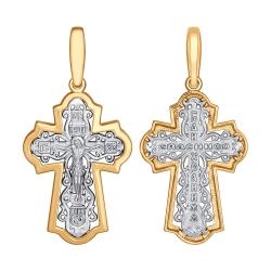 Мужской крестик из комбинированного золота без камней SOKOLOV