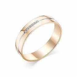 Обручальное кольцо с полосой и бриллиантами