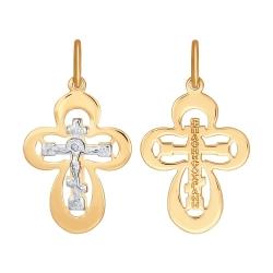 Крестик из комбинированного золота без камней SOKOLOV