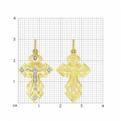 Крестик из желтого золота с фианитом