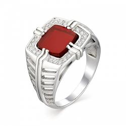 Мужское кольцо из серебра с фианитом
