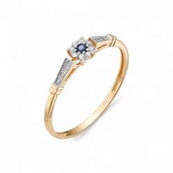 Кольцо из золота с сапфиром и бриллиантом
