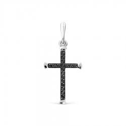 Крестик из белого золота с черными бриллиантами