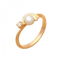 Кольцо из золота 585 пробы с жемчугом и фианитом