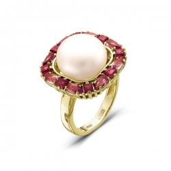 Золотое кольцо с аметистами, белым жемчугом, родолитами