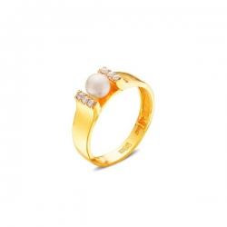 Кольцо из жёлтого золота 585 пробы с жемчугом и фианитами