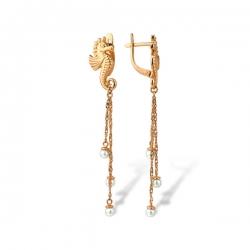 Серьги в виде морского конька из золота с жемчугом