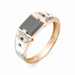 Мужское кольцо из золота с ониксом и черным бриллиантом