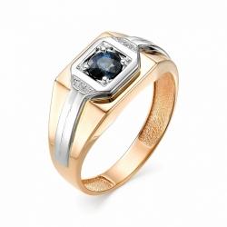 Мужское кольцо из золота с сапфиром и бриллиантом