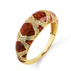 Золотое кольцо с эмалью и фианитами