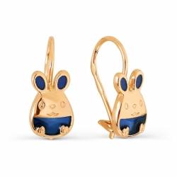 Детские золотые серьги Зайчики с эмалью