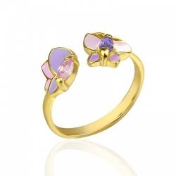 Кольцо для девочек с позолотой и бабочками