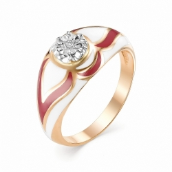 Золотое кольцо (Эмаль, Бриллиант)