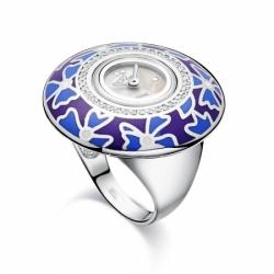 Часы-перстень серебряный Flora Незабудка