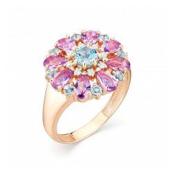 Женское кольцо из красного золота с топазом Swiss, аметистом, бриллиантом