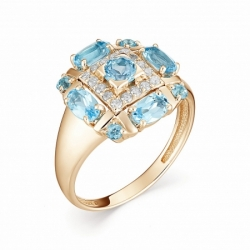 Женское кольцо из красного золота с топазом Swiss и бриллиантом