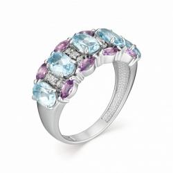 Женское кольцо из белого золота с топазом Swiss и аметистом, бриллиантом
