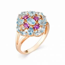 Женское кольцо из красного золота с топазом Swiss и аметистом, бриллиантом