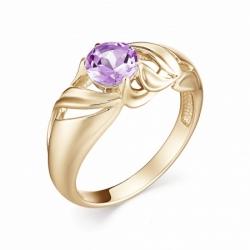 Женское кольцо из красного золота с аметистом