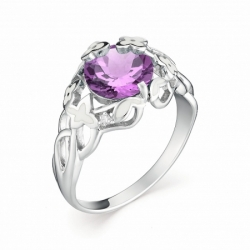 Женское кольцо из белого золота с аметистом и бриллиантом