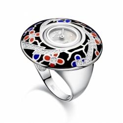 Часы-перстень серебряный Flora Орхидея