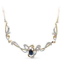 Золотое колье с сапфиром и бриллиантами