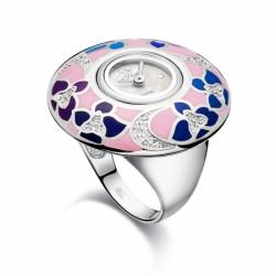 Часы-перстень серебряный Flora Фиалка