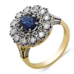 Кольцо из жёлтого золота 585 пробы с бриллиантами и эмалью