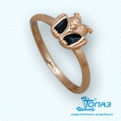 Детское золотое кольцо Сова с эмалью