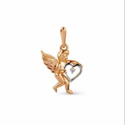 Золотая подвеска Ангел с фианитом