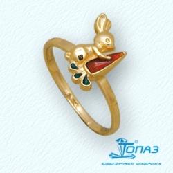 Детское кольцо Зайчик из желтого золота с эмалью