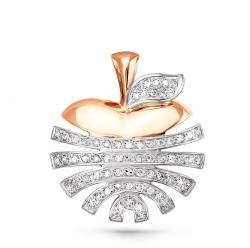 Золотая подвеска в виде яблока c бриллиантом