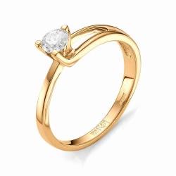 Золотое кольцо с одним бриллиантом