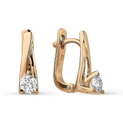 Золотые серьги с бриллиантами диаметром 4 мм.